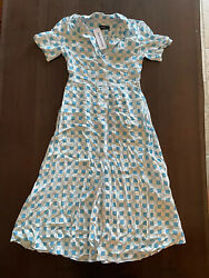 Urban Outfitters Blue White Dress Button Front Long Size S UO $42.00
