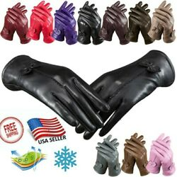 USA Leather Gloves Sheep Skin Windproof Comfort Lining Gloves Winter Warm Gift $11.86