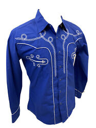 Men RODEO WESTERN COUNTRY BLUE WHITE STITCH TRIBAL SNAP UP Shirt Cowboy 07795 $29.99