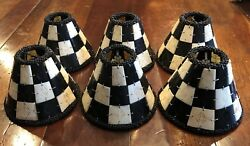 6 Unique Cream Black Carved Bovine Bone Checkerboard Chandelier Lamp Clip Shades $175.00