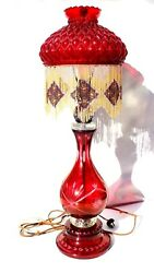 Vtg Antique Red Victorian Etched Glass Quilted Diamond Beaded Fringe Lamp $349.99