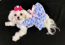 XXX Small Little Bows on Blue Dress Dog dress clothes Puppy Apparel TOY $12.99