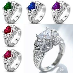 6 Colors Fashion Punk Skull Heart 925 Silver Sapphire Party Cocktail Men Ring $2.49