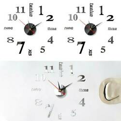 3D DIY Wall Clock Mirror Sticker Large Number Letter Art Home Room Fashion Decor $7.78