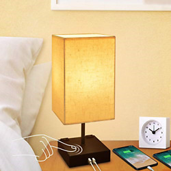 Dimmable 3 Way Touch Control Bedside LampCotanic Modern Table Lamp with USB for $36.06