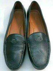 Coach Leather Slip On Flats Womens 9.5 G2687 Black Leather Driving Mocs EUC DP $19.99