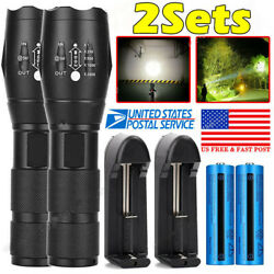 2Sets Super bright Lamp 900000LM 5 Modes Zoomable LED FlashlightBatteryCharger $13.98