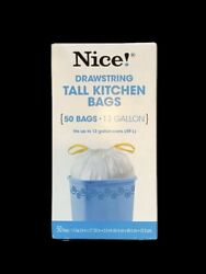 """Nice Handle Tie 50 Tall Kitchen Bags 13 Gallon 4"""" X 8"""" X 2 Ft 4"""" $15.00"""