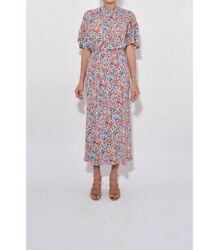 New Stine Goya Rhode floral print mock neck silk Dress Size M $189.00