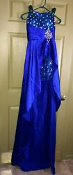 Royal Blue Hi Lo Lace up Back Sequin Skirt amp; Bodice Party Formal Gown 4 $24.99