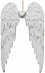 Antique Hanging Metal Angel Wings with Heart Decorative for Home Garden Wall $22.99