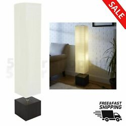 MODERN WHITE FLOOR READING LAMP RIce Paper Shade Wood Base CFL BULB INCLUDED $53.98