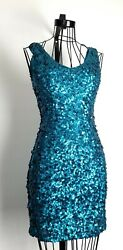 Amber Blue Bodycon Club Party Teal Sequin Dress Round Neck Sleeveless Size M $15.00
