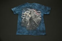Wolves Howling at the Moon USA Flag The Mountain Blue Tie Dye Shirt Medium M $19.99