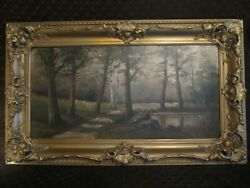 Antique Oil Painting of Path Into Woods $350.00