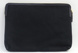 Martha Stewart Large Canvas Zip Top Pouch with Leather Trim Black $19.99