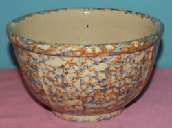 Antique Red Wing Pottery Spongeware Paneled #8 Mixing Bowl $27.50
