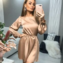 Women Casual O Neck Satin Mini Dress solid Lantern Sleeve Sashes A Line Party $35.99