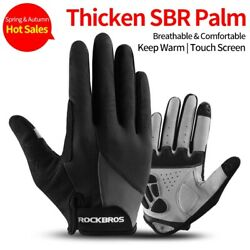 ROCKBROS Bike Full Finger Cycling Gloves Touch Screen Sports Riding Gloves Black $13.98