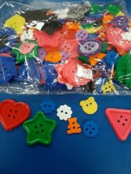 Lot 200 Plastic Novelty Kids Buttons Sewing Sew On Shank Loop Craft heart bow $15.00