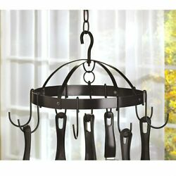 Mini Round Iron Metal Hanging Kitchen Pot Rack Cooking Pan Holder Organizer $29.95