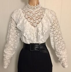 2X SHEER LACE White HIGH NECK Victorian Ruffle BLOUSE 46 52quot; Bust Stretch Vtg St $36.75