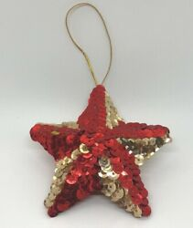 Vintage Sequins Star Christmas Tree Holiday Ornament 3.25quot; Diameter Red Gold $9.99
