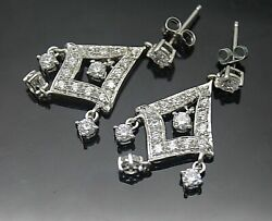 MEDA SPARKLING WHITE CLEAR CZ ACCENT STERLING SILVER POST CHANDELIER EARRINGS $62.95