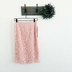 NWT Rachel Parcell Pink Peach Lace Pencil Skirt S $62.99