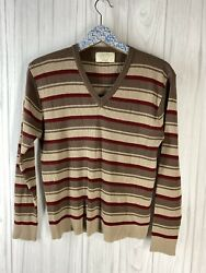 Sears Size Large Brown Striped V Neck Pullover Sweater Acrylic VINTAGE 70s GUC $24.99