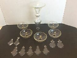 Antique Crystal Glass Bobeches Pendalogue Prisms amp; other Chandelier Parts $46.95
