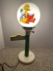 Vintage 1980's Sesame Street Table Lamp. Glass Globe With Big Bird In Bed $45.00