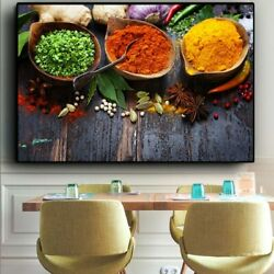 Grains Spices Peppers Kitchen Canvas Painting Wall Art Pictures Painting Wall $14.90