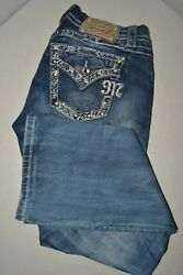 Miss Me Women#x27;s Mid Rise Easy Bootcut Embellished Pockets Blue Jeans 29x31 $40.50