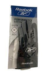 Performance Batting Gloves Reebok Kids Black Grey RBY002 youth medium $12.99