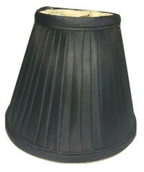 CANDELABRA CHANDELIER LAMP SHADES Black Pleated Fabric Bell Shape Double Lining $8.98