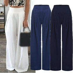Women Loose Plus Size High Waist Linen Wide Leg Pants Skirt Long Casual Trousers $13.89