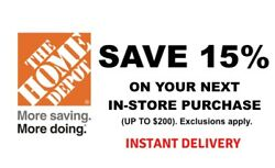 1X Home Depot 15% OFF Save up to $200 Instore ONLY FAST Shipment $26.98
