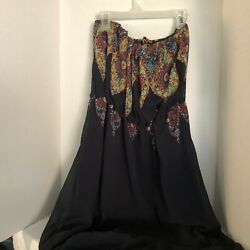 Love Tree Floral Boho Tube top Maxi Women's L Navy Blue $22.00