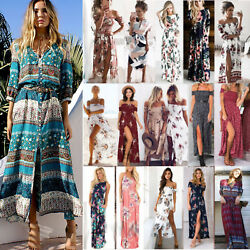 Womens Boho Floral Printed Long Maxi Dress Beach Holiday Cocktail Party Sundress $18.59