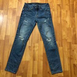 American Eagle Mens Next Level AirFlex Skinny Distresed Blue Jeans 28 x 28.5 $29.99