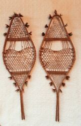 Anitque Miniature Indian style Wooden Snowshoes with Red amp; Green Pom Poms $53.50