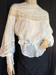 Vintage white Cotton blouse Top high collar Lace cuff 1900s Victorian antique M $149.99
