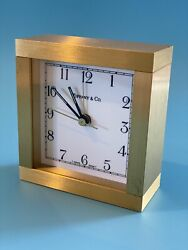 TIFFANY amp; CO Brass Desk Clock Vintage Square Alarm Swiss Made Paperweight Mantle $149.99