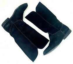 Cappagallo Womens Boots Black Suede Leather Gonzo Western Mid Calf Slip On 8 M $55.66