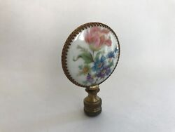 Antique French Victorian Hand Painted Porcelain amp; Brass Lamp Finial 2 3 4#x27;#x27; #2 $65.00