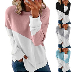 Womens Christmas Colorblock Crew Neck Pullover Tops Long Sleeve T Shirt Blouse $20.61