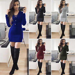 Womens Long Sleeve Bodycon Mini Dress Ladies Xmas Jumper Casual Sweater Party $15.67
