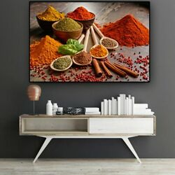 Colorful Grains Spices Spoon Kitchen Canvas Painting Posters Canvas Wall Art $16.80