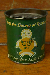 Vintage Orange Solid Oil Superior Lubricant 1lb Pound Grease Metal Gas Oil Can $49.95